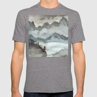 Misty Mountains  Mens Fitted Tee Tri-Grey SMALL