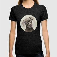 Mr Weimaraner Womens Fitted Tee Tri-Black SMALL