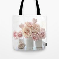 Peach And White Shabby C… Tote Bag