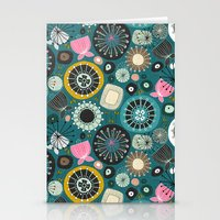 blooms teal Stationery Cards