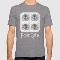 Four Cats Mens Fitted Tee Tri-Grey SMALL