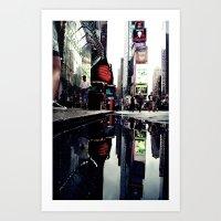 Time Square Mirror Art Print