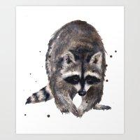 RACOON painting, wilderness nursery art, woodland animal art, racoon watercolor, cute racoon print Art Print