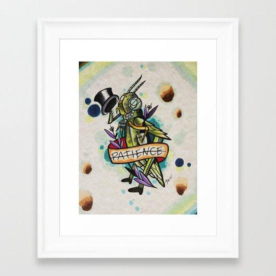 Patience Grasshopper Framed Art Print