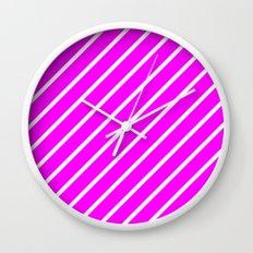 Diagonal Lines (White/Fuchsia) Wall Clock