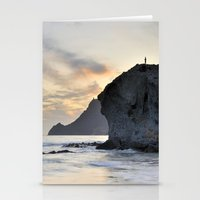 Looking At Sunset. Stationery Cards