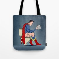 Superhero On Toilet Tote Bag