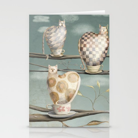 Cats in Cups Stationery Card