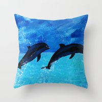 Jumping Dolphins Throw Pillow