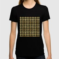 Triangles Black&Gold Womens Fitted Tee Black SMALL