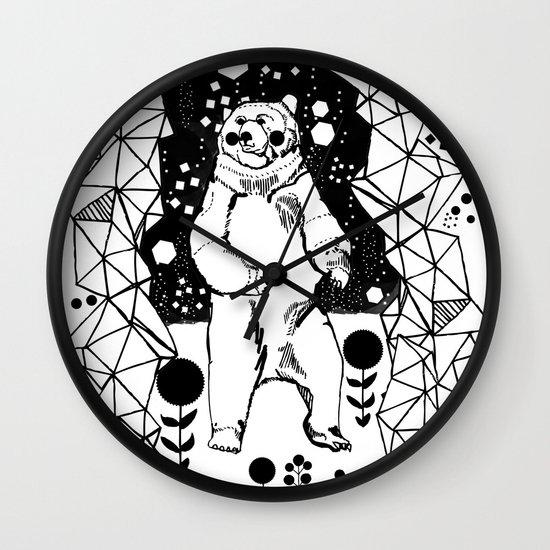 Bear in the Night Wall Clock