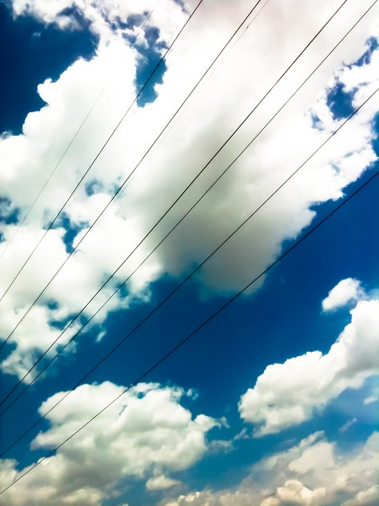 Lines and The Blue Sky Art Print