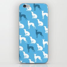 Greyhound Dogs Pattern On Blue Color iPhone & iPod Skin