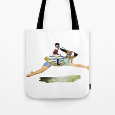 riding the rabbit Tote Bag