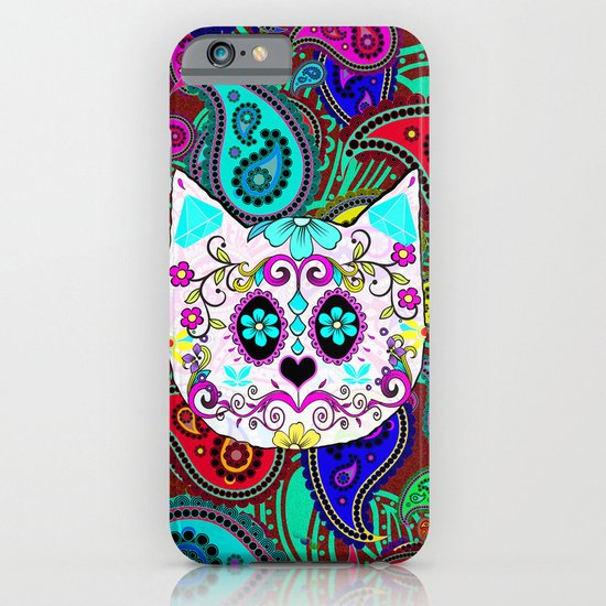 Hipster Cat Sugar Skull Teal Pink Retro Paisley Pattern iPhone & iPod Case