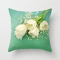 French White Tulips And … Throw Pillow