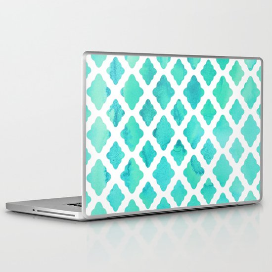 Watercolor Mint Diamonds Laptop & iPad Skin