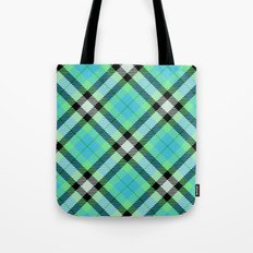 Blue Green Plaid Tote Bag