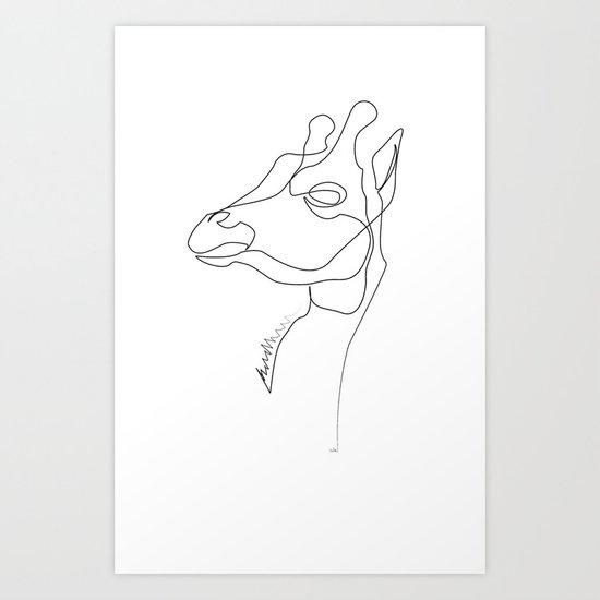 Line Art Giraffe : Giraffe line art print by quibe society