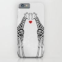 iPhone Cases featuring Giraffe Love by Jacqueline Maldonado