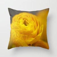 Golden Ranunculus Flowers Throw Pillow