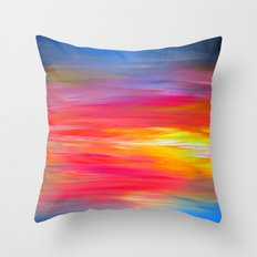 BRIGHT HORIZONS Bold Colorful Rainbow Pink Yellow Blue Abstract Painting Sunrise Sunset Stripes  Throw Pillow