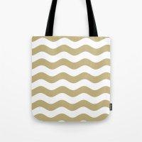 Wavy Stripes (Sand/White) Tote Bag