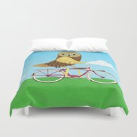 Owl Bicycle Duvet Cover