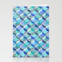 Patchwork Ribbon Ogee Pattern in Blues & Greens Stationery Cards