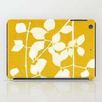 white branch on golden tone iPad Case