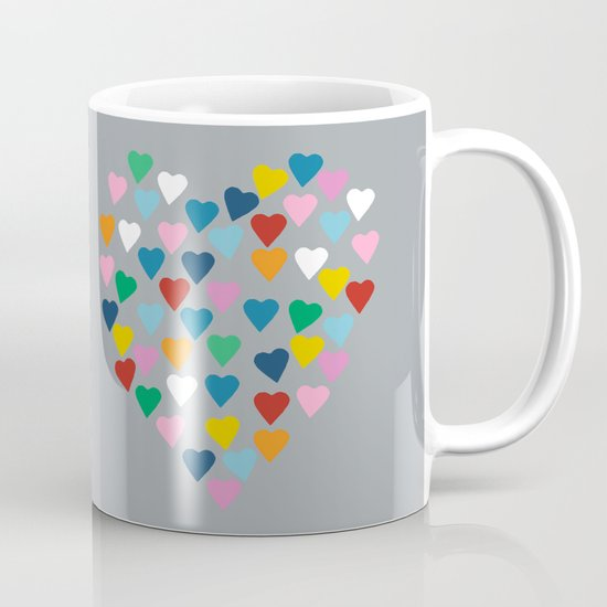 Hearts Heart Multi Grey Mug
