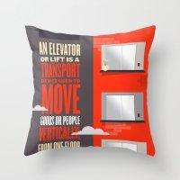Elevator - Illustrated Wikipedia Throw Pillow