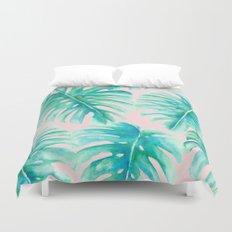 Paradise Palms Blush Duvet Cover