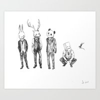 Animal Heads With Suits Art Print