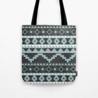 Aztec Pattern 2 Gray & Teal Tote Bag