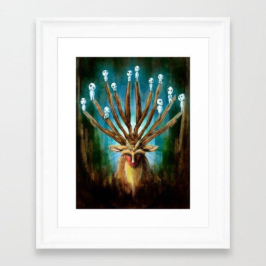 Princess Mononoke The Deer God Shishigami Tra Digital Painting. Framed Art Print