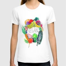 Vegan  Womens Fitted Tee White SMALL
