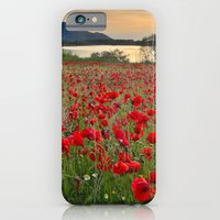 iPhone & iPod Case featuring Field of poppies in the lake by Guido Montañés