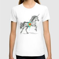 rainbow T-shirts featuring Unicore II by Rachel Caldwell