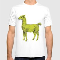 Llama Mens Fitted Tee White SMALL