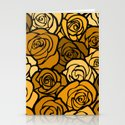 Romantic Yellow roses with black outline Stationery Cards