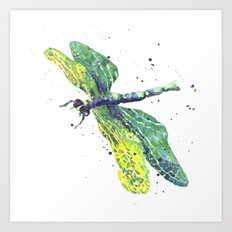 Dragonfly - Green Goddess Art Print