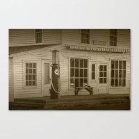 Sepia Photograph of Red Crown Vintage Gasoline Pump in Glen Haven Michigan Canvas Print