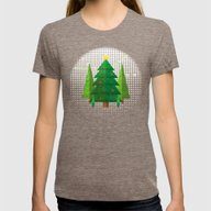 Geometric Christmas Tree… Womens Fitted Tee Tri-Coffee SMALL