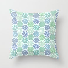 Cool Hex Patchwork Throw Pillow