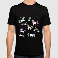 Unicorns and Rainbows - Teal Mens Fitted Tee Black SMALL