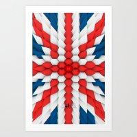 3d Poly Union Jack  Flag Art Print