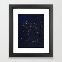 Mitten State Constellation Framed Art Print