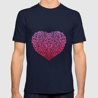 Pink Heart Mens Fitted Tee Navy SMALL
