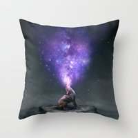 Throw Pillow featuring All Things Share the Same Breath (Coyote Galaxy) by soaring anchor designs